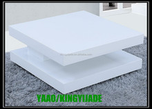 Two tier PU high gloss swivel coffee table in square shape