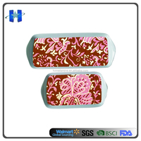 Flower Design Printing Melamine Rectangle Handle Tray