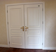 White raised moulding double entry doors