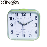 2015 hot sale square plastic table alarm clock with light