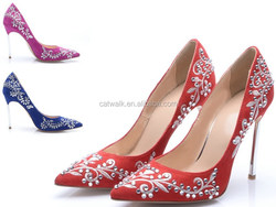 Traditional Indian Embossed Footwear Fashion Women Shoes Assure Trade Supplier Bulk Heels Shoes 2015