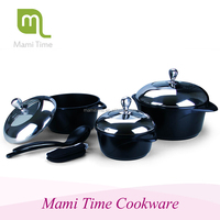 8pcs shallow casserole sets and fry pan with girl color