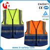 EN471 polyester knitted hi vis blue reflective work vest with pockets