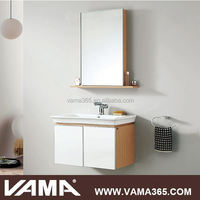 VAMA V-14170 oak wood modern bathroom wall cabinet towel bar