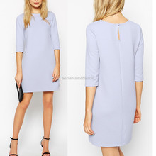 Alibaba stripe cyan short sleeve keyhole on the back mini Women Dress
