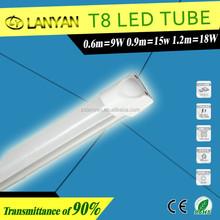 2012 most popular led tube 9w 0.6meter ra75 led lamp with blister film for school