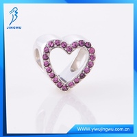 China Supplier Handmade Silver Pink Diamond Heart Charm Pendant