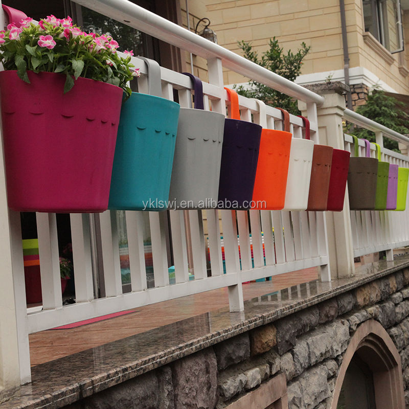 New patented plastic hanging flower pot buy balcony - Flower pots to hang on fence ...