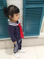 New Autumn Vintage Style Navy Girls Student Clothes Sets 2pcs Red Bow Tie Long Sleeve Top And Stripe Trousers For Kids Clothes C