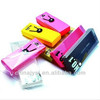 Customized portable pp plastic pencil box with button closure schoolsupplies for children