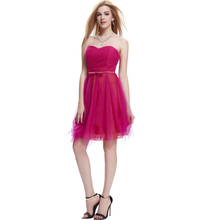 2015 Startzz Strapless Sweetheart Neckline Medium Violet Red Color Short Tulle Lace Cocktail Dress ST000038-4#