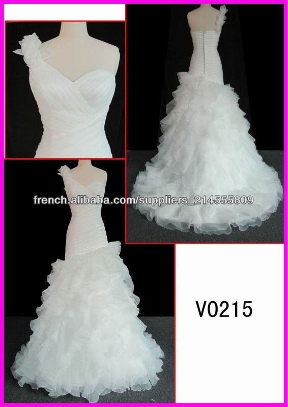 brillante robe de mariée une épaule dans la vente chaude avec la remise