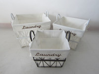 iron with fabric basket laundry basket