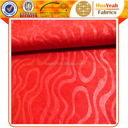 Polyester hotel sofa red emboss suede microfiber fabric wholesale