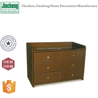 Decorative brown leather large chest of drawers, cabinet designs for bedroom, clothes cabinet