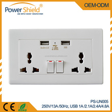 Global Universal /Middle East/ China Dual USB Wall Switch Socket 250V 13A