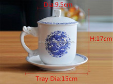 Popular Blue and White Ceramic Tea Cup With Lid