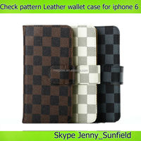 plaid pattern wallet leather case for iphone 6 plus 4.7,for iphone 6 case wallet leather ,for iphone 6 plus case leather wallet