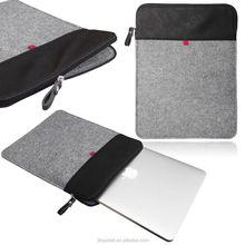 Smart Laptop Felt Sleeve Case Cover Bag Vertical Felt & Leather sleeve with ZIP for laptop Macbook Air 13