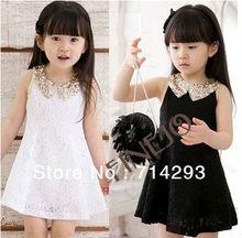 Baby Kids Children's Girls Lovely Sequins Collar Sleeveless Vest Princess Lace Dress 14554