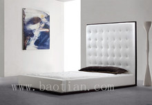 Genuine Leather Wooden Bed with Buckled Design and High Headboard