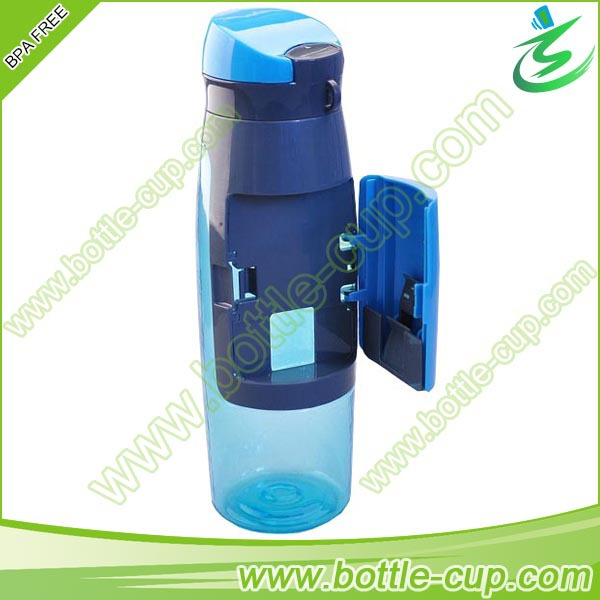 Sports Bottle With Storage Compartment: Sports Bottle With Compartment,Plastic Water Bottle With