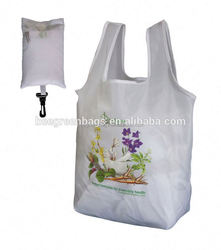 T-shape attached snap closure fold up polyester bag
