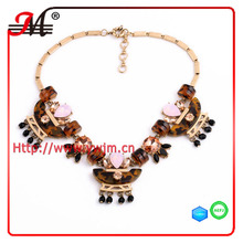 NK5315 Jingmei Leopard resin stone anniversary statement necklace