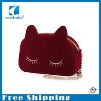 Free shipping new fashion women Faux Suede handbag cartoon cat shape bag mini cute Chain bag shoulder bags