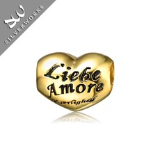 Love Silver 925 Engravable Charm Yellow Gold Plated Heart Charm