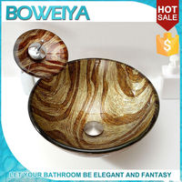 Brass Bathroom Tempered Glass Outdoor Mini European Pottery Lavabo Toilets And Sinks