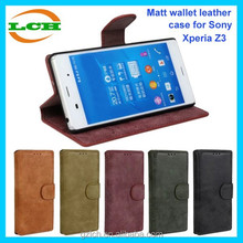 Popular style matt with magnetic wallet leather flip case for sony xperia z3 compact case