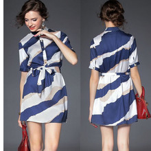 High quality short sleeve woven fashion new dress, model stripe dress with belt