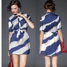 High quality short sleeve woven fashion new dress, model stripe dress with belt