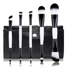 Black and White Color Makeup Brush Set/Portable Double-Ended Makeup Brush Set/Synthetic Hair Makeup Brushes With Pouch