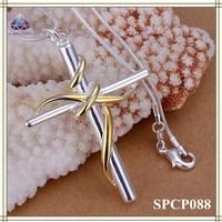 Imitation Jewelry Jesus Cross With Yellow Metal pendant Necklace