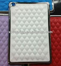Fashion quilt skin chrome case cover for mini ipad