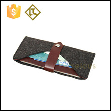 Grey felt and brown leather mobile phone case,leather phone case,felt &leather joint phone wallet