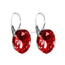 Women Jewelry big rhinestones earrings color oval red stone earrings assortment jewelry
