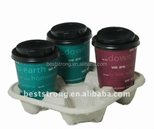 Pulp moulded 4 cups coffee cup carrier