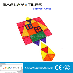 Playmags Clear Colors Magnetic Tiles toys 100 Piece Set - Includes 2 Cars