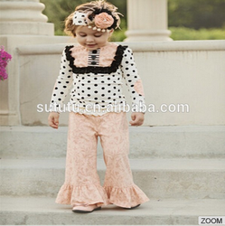 Wholesale Kids Fashion Casual Wears Long Sleeve Polka Dots Top With Bib And Casual Ruffle Pants Baby Girls Clothing Set .