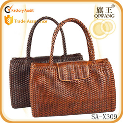vintage style women bag woven tote bag brown handbag leather