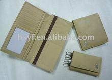 leather gift set of wallet/card holder/key holder
