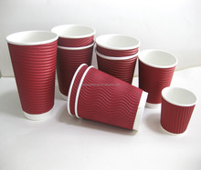 Ripple wall wholesale coffee cups, hot drinking ripple wall paper cups&disposable ripple paper cup