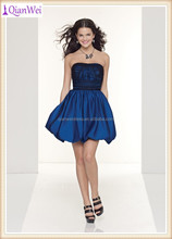 hot sale low price China supplier short black tulle and sapphire taffeta bubble gown color combination cocktail dress