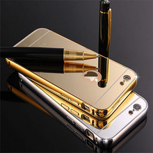 Electroplating Glod Frame Mirror Mobile Phone Case For Apple iPhone 6s, For iPhone 6 Back Cover Metal Case