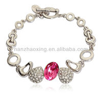 OUXI Rhodium plated alloy bracelet jewellery with Austrian Crystal