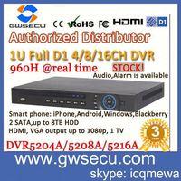guowei economical 1u h.264 security cctv dahua effio 960h dvr 8ch full d1 audio alarm network digital video recorder dvr5208a