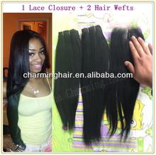 Peruvian Virgin Hair 3pcs lot light yaki middle part Lace closure with 2pcs bundle Unprocessed Hair Extention